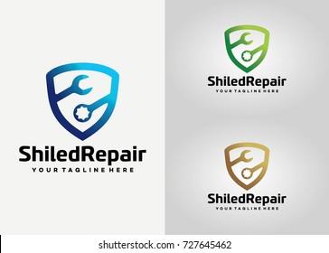 Shield Repair  Logo Template Design. Creative Vector Emblem, for Icon or Design Concept.