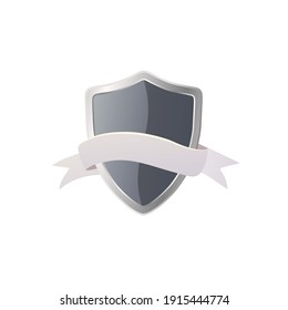 Shield with ribbon concept. Flat vector illustration. Isolated on white background.