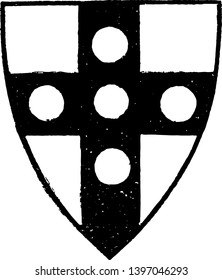 Shield with Roundels is an example of a heraldic shield with roundels vintage line drawing or engraving illustration.