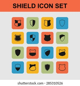 shield safe defence icon set