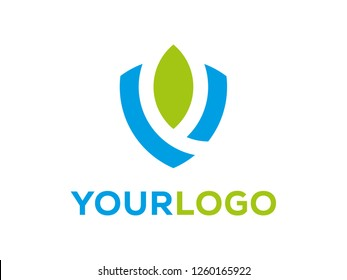 Shield safety nature logo icon.  Protection logo illustration. Design flat style. Business safety - Vector