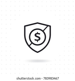 Shield security icon. Vector shield with dollar sign currency symbol. Shield protection vector illustration. Flat line design protection and security for website and mobile apps. Flat line vector