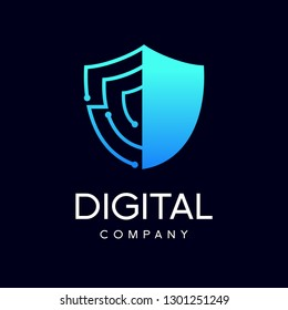Shield security logo design vector.  Digital Security guard symbol icon. Gradient blue. Protection shield vector with technology symbol.