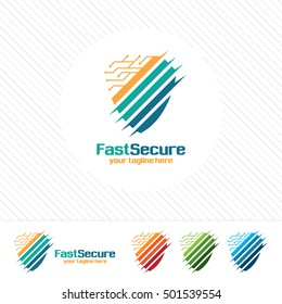 Shield security logo design vector. Security guard symbol icon. Protection shield vector with technology symbol.