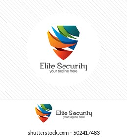 Shield security logo design vector. Security guard logo with technology symbol.