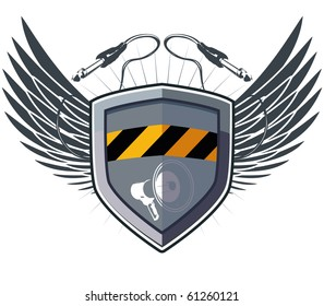 Shield security with wings and megaphone plus socket jack for music device. Only for your artwork.