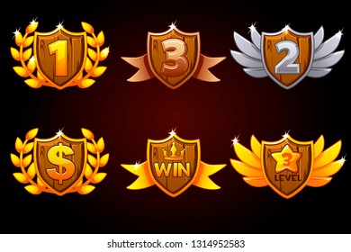 Shield set, vector Awards or icons. Objects on a separate layer. For game, user interface, banner, application, interface, slots, game development. Objects on a separate layer