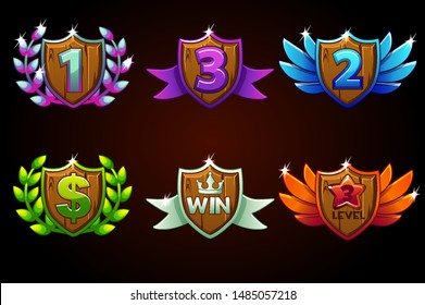 Shield set, vector Awards or icons. Awards 1st, 2nd, 3rd place. For game, user interface, banner, application, interface, slots, game development.