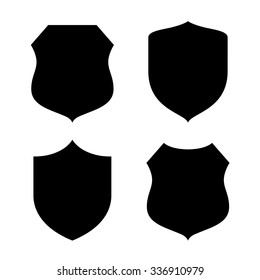 Shield shape silhouette isolated on white background