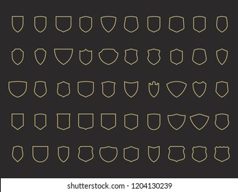 Shield shapes. Set of 50 vector outline shields and badges on black background. Modern flat design. Safety, protection, safeguard, sport and heraldic template. Easy to use and edit.