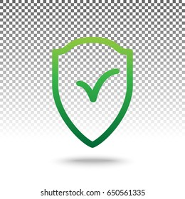 Shield sign as protection and insurance symbol. Vector. Green gradient icon with shadow at bottom on transparent and white background.