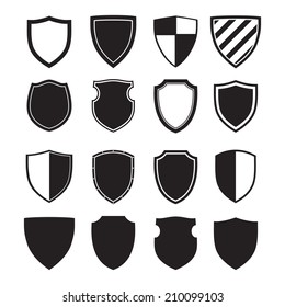 Shield silhouettes for signs and symbols (safety, security, military, medieval)