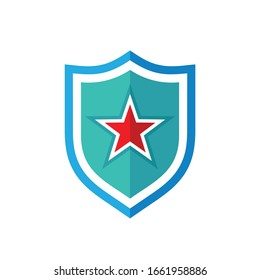 Shield  star icon logo design flat style. Protection abstract symbol. Army military strong sign. Access antivirus badge icon. Vector illustration on white background.