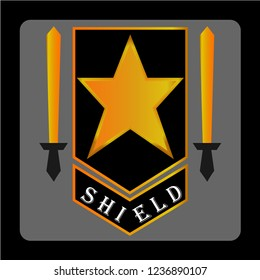 A shield with stars and two swords. This logo is good to use as a company logo or business that is engaged in security.