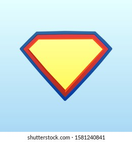 Shield superhero. Superman logo template. Color volumetric superhero shield isolated on a light background. The concept of color vector shield hero, defender. Vector illustration