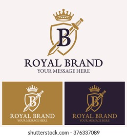 Shield with sword, crown and letter b, vector logo template for uses in different spheres