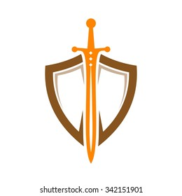 Shield Sword Guardian Logo Template