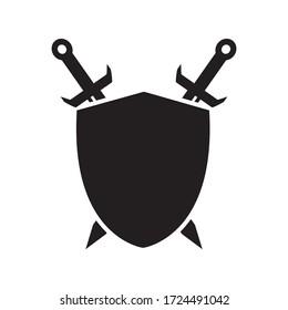 Shield And Sword Icon Design Vector Template