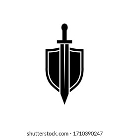 Shield and sword icon, logo isolated on white background