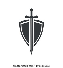 shield and sword icons. logo. vector illustration