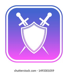 Shield and sword logo template. Protected icon.