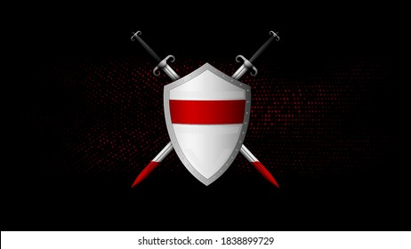 Shield and sword on a black-red background. Vector illustration.