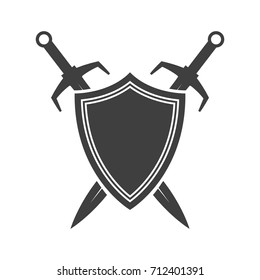 Shield and sword silhouette. Guardian icon. Security element.