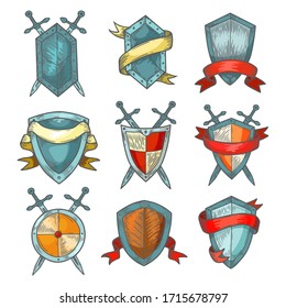 Shield and sword sketch Medieval heraldic armor of knight warrior, vector set. Shield and sword hadn drawn coat of arms or royal heraldry with red ribbon flags, cartoon and fantasy design elements