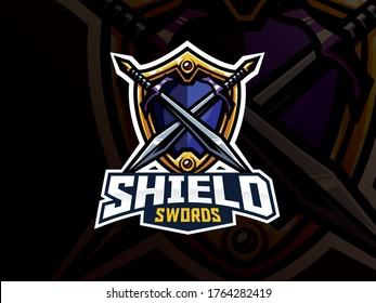 Shield and swords badge sport logo design. Warrior emblem vector illustration. Shield and weapon symbol design, Emblem design for esports team. Vector illustration