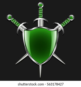 Shield with swords. Metal shield and three swords. Green field and finishing pens. Medieval weapons and armory. Gray background. Vector illustration.