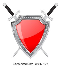 Shield and swords. Vector illustration isolated on white background