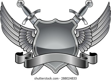 shield with swords, wings and banner
