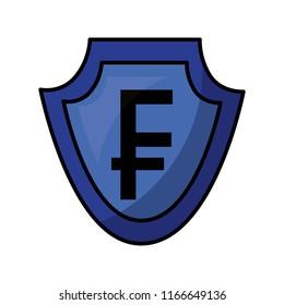 shield with symbol of crypto money isometric icon