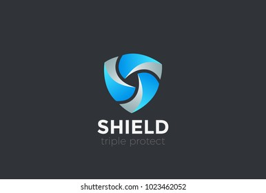 Shield Teamwork protect defense Logo design vector template.