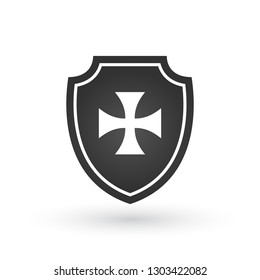 Shield of Templar Knights. Cross of the Templars. Isolated on white. Vector illustration isolated on white background.