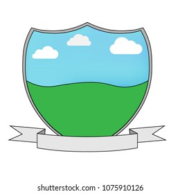 Shield Template With Ribbon And Scenery