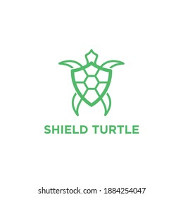 Shield Turtle Logo Design Vector