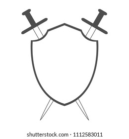 Shield and two crossed swords. Knight emblem. Vector illustration.