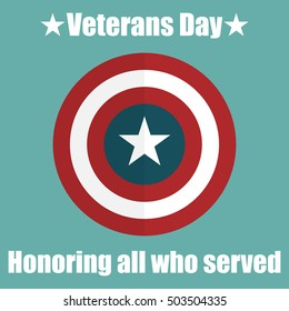 Shield with USA Veterans Day icon. Protect privacy Illustration, badge icon