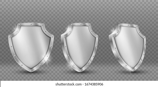 Shield vector icons set, gold medieval knight ammo, guard with engraved border, award trophy, military armor front side view isolated on black background with reflection, realistic 3d clipart