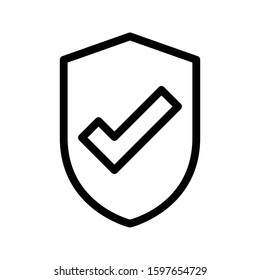 shield vector thin line icon