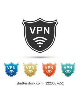 Shield with VPN and WiFi wireless internet network symbol icon isolated on white background. VPN protect safety concept. Virtual private network for security. Flat design. Vector Illustration