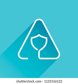 Shield in warning triangle. Problem with protect. Linear icon with thin outline. One line style. Gray icon with long shadow in bottom left corner on blue background
