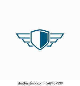 shield with wing logo design