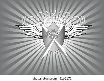 Shield, Wings and Swords - Vector