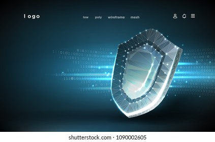 Shield.Polygonal wireframe mesh.Cyber security concept, protection.Shield on digital data background.Illustrates cyber data security or information privacy idea. Abstract hi speed internet technology