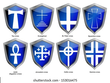 Shields with crosses