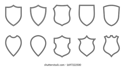 Shields graphic icons set. Blank heraldic shields signs isolated on white background. Symbols power, protection and coat of arms. Vector illustration