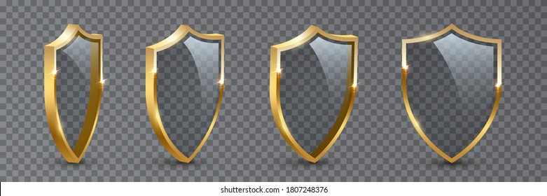 Shields with reflection in shiny gold frames set. Collection of military armor in front, side view isolated on transparent background. Vector illustration of medieval ammunition, war trophy