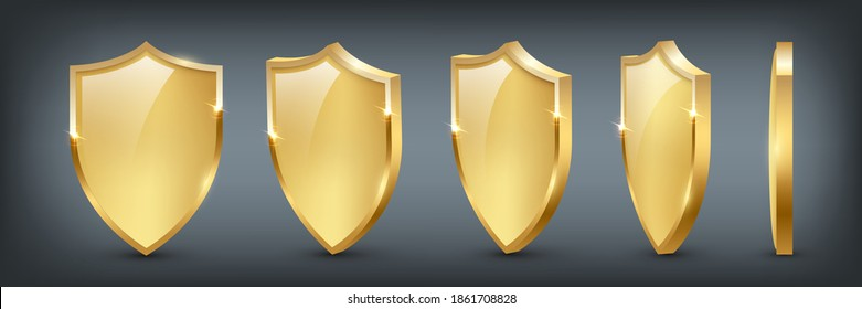 Shields with reflection in shiny gold frames set. Collection of military armor in front, side view isolated on white background. Vector illustration of medieval ammunition, war trophy, heraldic symbol